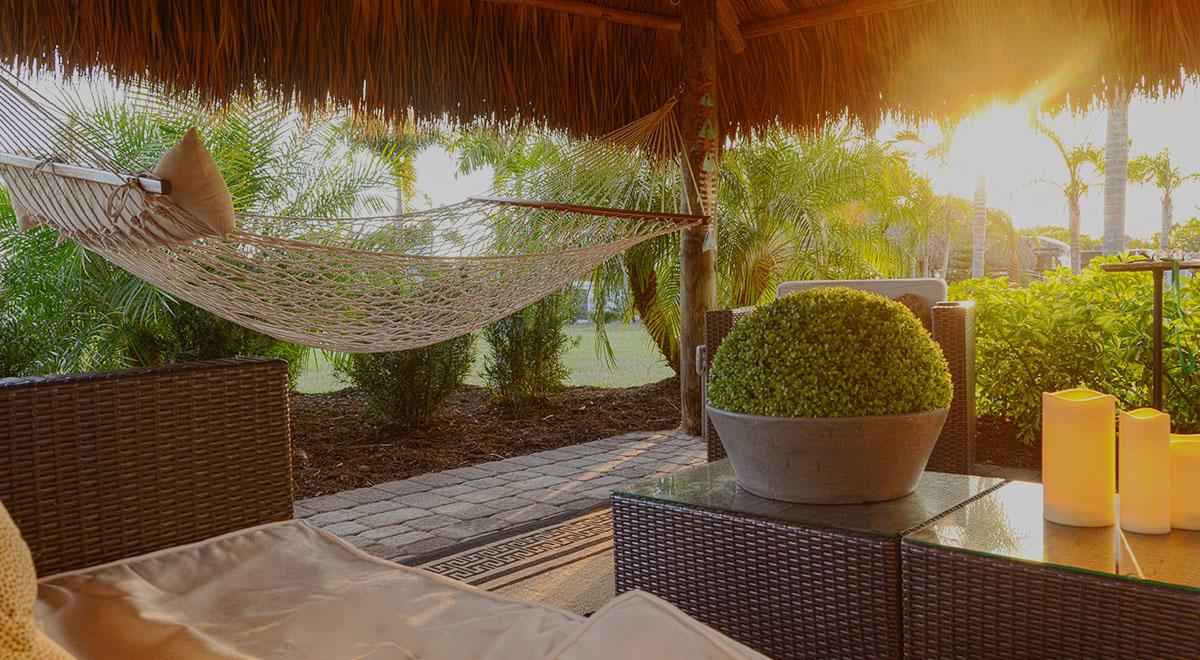 A beautiful tiki hut at Silver Palms RV Resort
