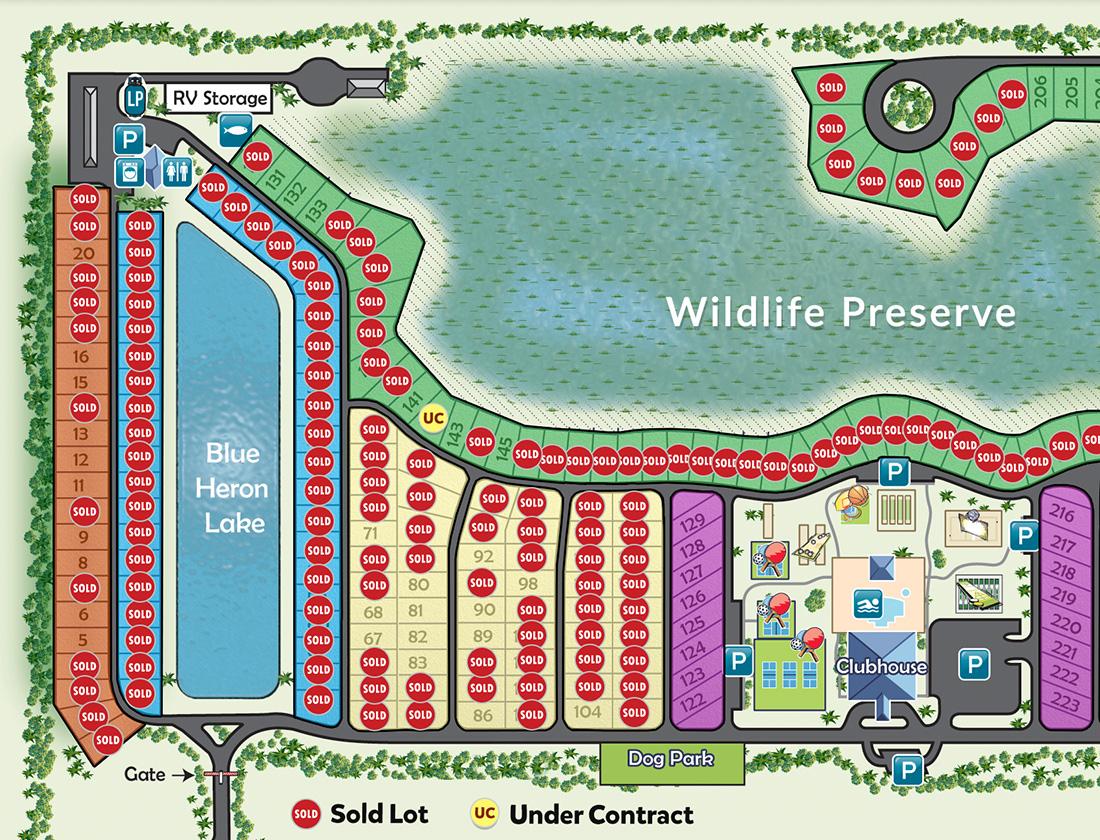 Silver Palms RV Resort Map near Lake Okeechobee, Florida